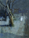 G. Mentessi, Paesaggio notturno con apparizione spettrale, c. 1911